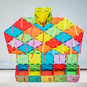 image of magnatiles against a window
