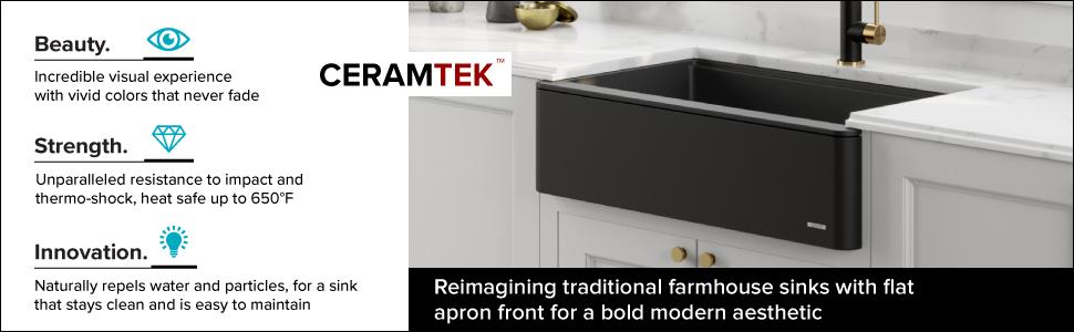 "KRAUS 33"" Bellucci Apron Workstation Kitchen Sink Farmhouse Single Bowl  with Cutting Board in Black"