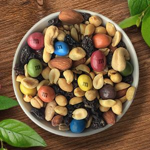 Make a trail mix snack with natural color M&M'S Chocolate Candy.
