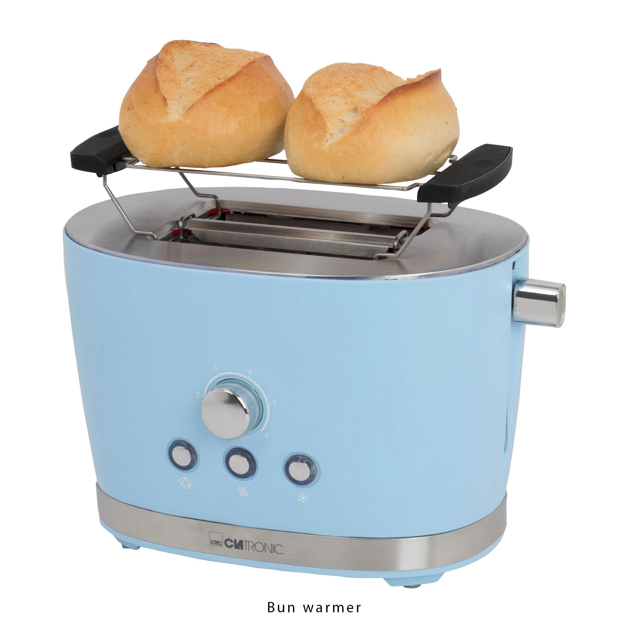 Clatronic TA 3690 Tostadora de Pan, 2 Ranuras, 3 Funciones, tostar, Calentar y descongelar, 850 W, regulador de Nivel de Tostado, calienta panecillos ...