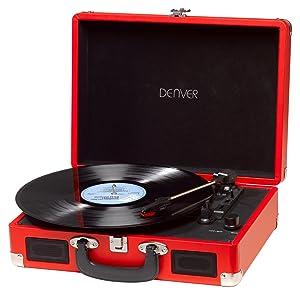 Denver VPL-120 Red - Tocadiscos Retro, Color Rojo