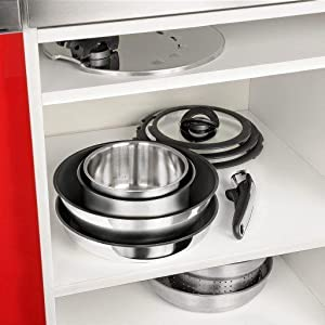 Maximum Space Saving, Tefal Ingenio Stainless Steel 13 Pieces Cookware Set