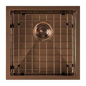 WHNPL1818, Sink, Copper, Kitchen, Undermount, Stainless Steel, Drop in, Noah Plus, Grid, Drain
