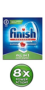Finish Quantum Max Max in 1 All in 1 dishwasher dishwashing detergent power ball tabs degreaser