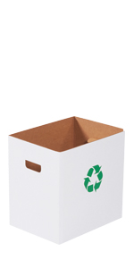 7 Gallon Corrugated Trash Cans with Recycle Logo and Hand Holes