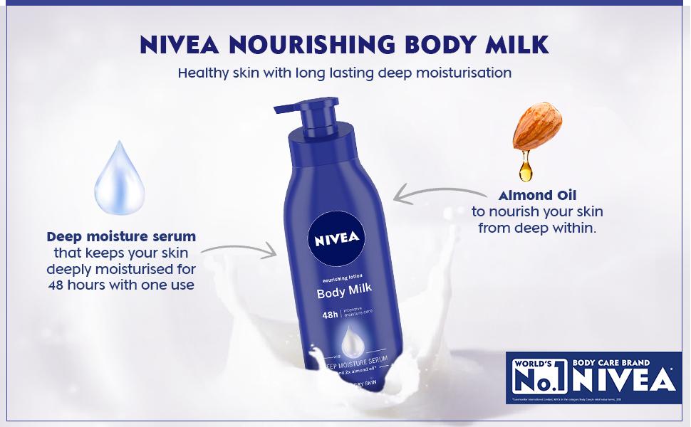 no 1 skin care brand nivea lotion body milk almond oil deep moisture serum