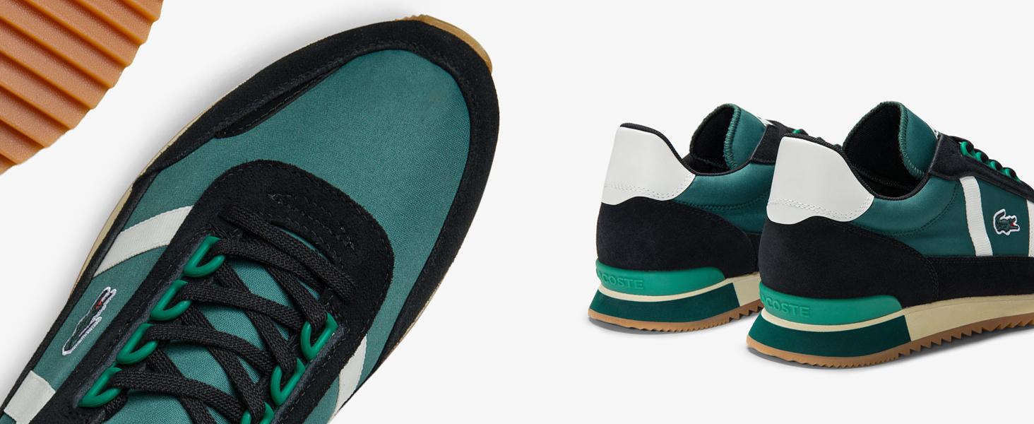 Scarpe da ginnastica da uomo verdi e nere Partner Retro