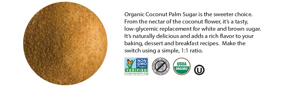 Organic Coconut Sugar low glycemic usda organic kosher non-gmo gluten free