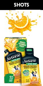 airborne immune support zesty orange shots vitamins A C B6 Ginger sugar free caffeine free zinc