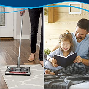 carpet sweeper, cordless, area rug, bare floor, wood floor, lightweight
