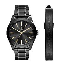 A|X Armani Exchange Mens Silvertone Navy Nylon with Silicone Straps Watch