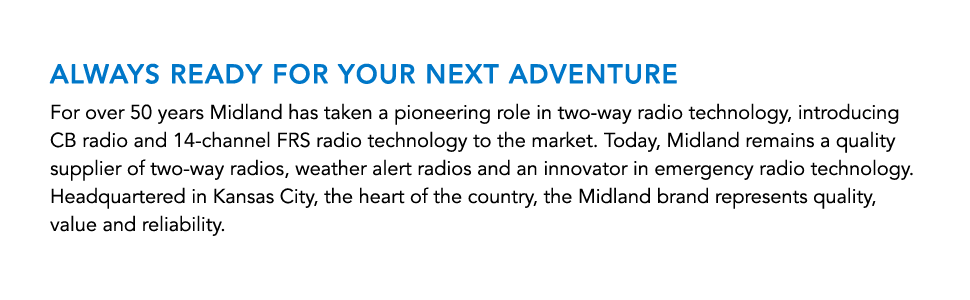 Midland Radio LXT500VP3 about company description tile with blue title and black body text