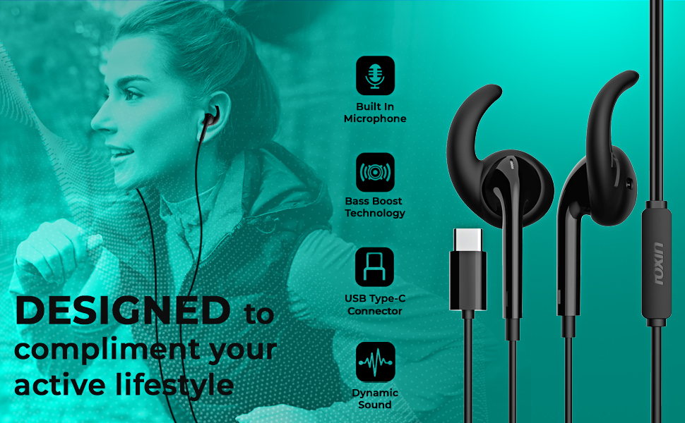 Foxin BASS PRO CB3 Wired Earphones with Earhooks & Type-C Connector Plug (Black)