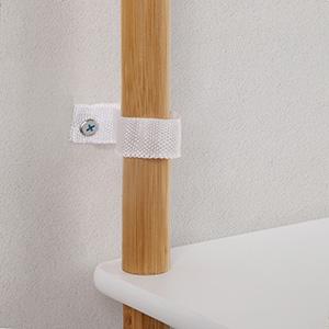 VASAGLE Estanter/ía de 4/Niveles con/Patas de/Bamb/ú,/Estanter/ía/Extensible con/Altura/Ajustable,/Ideal para/Sala de Estar,/Ba/ño,/Cocina,/Blanco y/Grano/Natural