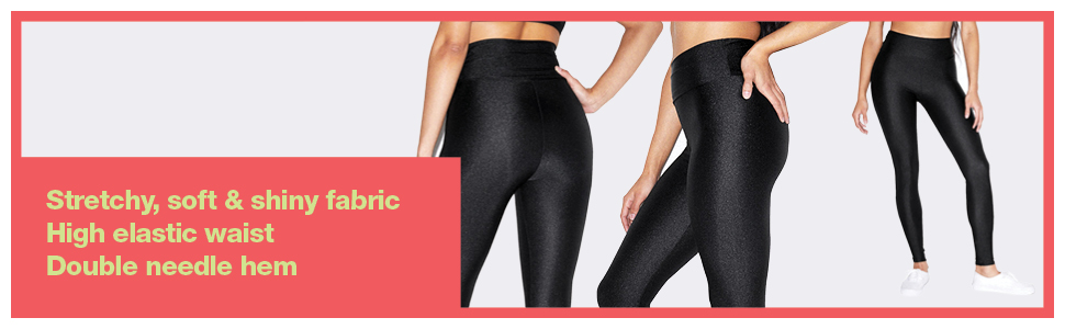 stretchy, shiny, women's, nylon tricot, high waist legging