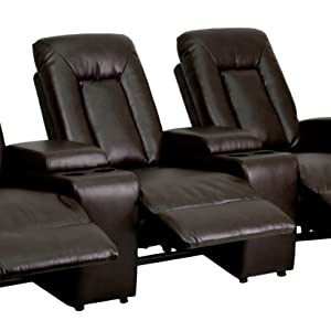 thick padded leather three seat theater seating