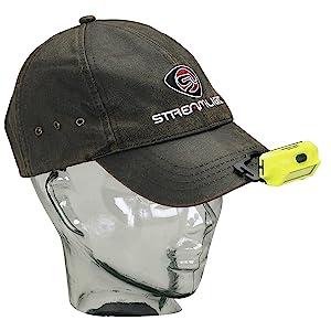 Streamlight 61700 Bandit Headlamp, Yellow, clipped to brim of black baseball cap.