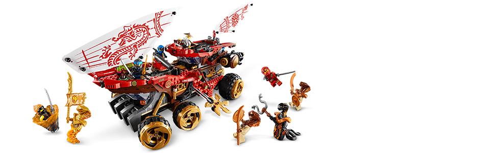 LEGO Ninjago - Navío de Tierra Juguete de construcción de Vehículo todoterreno Ninja, incluye Varios Guerreros Samurai, Novedad 2019 (70677)