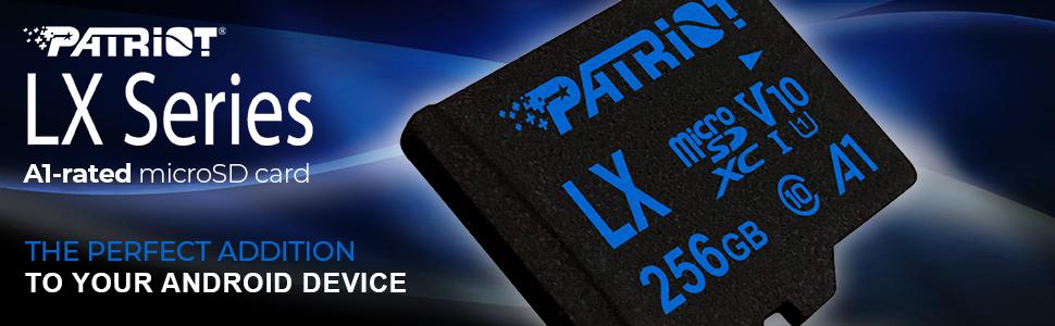Patriot LX Series microSD SD flash card A1 application performance full HD 1080p recording
