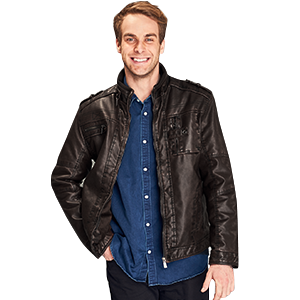 Wantdo Men's Vintage Stand Collar Faux Leather Jacket at