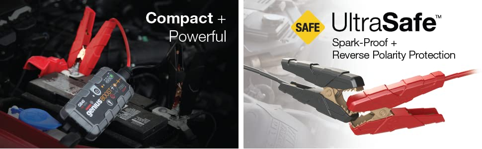 compact, boost GB40, ultrasafe, spark proof, reverse polarity protection, powerful, jump start