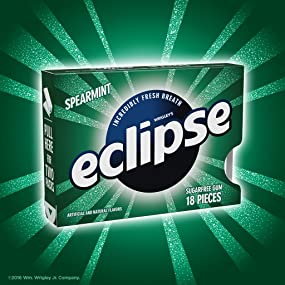 Package of Wrigley eclipse spearmint chewing gum