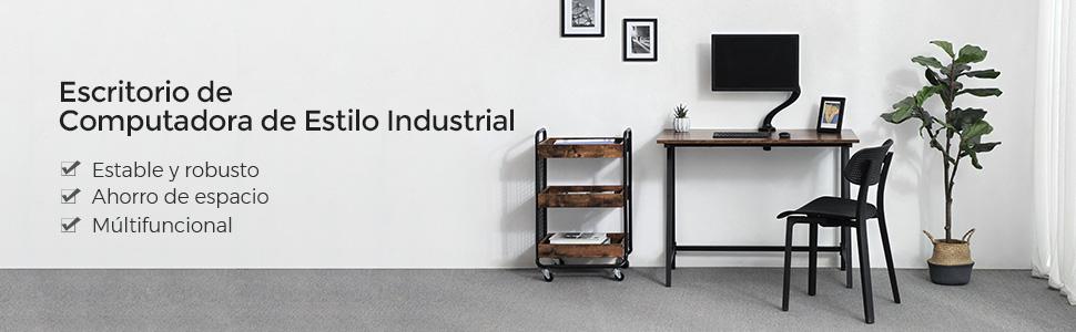 VASAGLE Escritorio de Estilo Industrial, Mesa de Ordenador con ...
