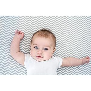 Amazon Com Trend Lab Print Flannel Crib Sheet Gray And