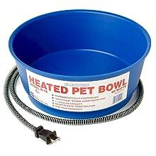 Farm Innovators Economical 1 1/2-Gallon Round Heated Pet Bowl, blue