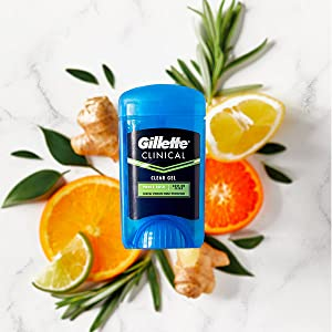 gillette clinical deodorant clear gel power rush scent, oranges, ginger, fruit, clear deodorant