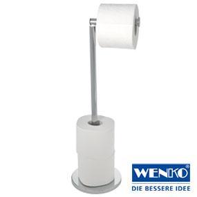 Fantastisch WENKO 21424100 Stand Toilettenpapierhalter 2 in 1 Weiß, Stahl, 17  JG14