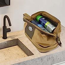 Men's Zeppro waxed canvas toiletry bag