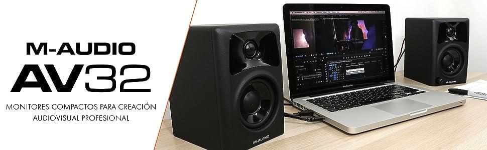 Altavoces monitores de escritorio estudio activos, para reproducción multimedia con audio