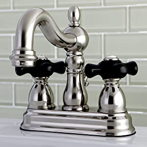 Kingston Brass KB1604PKX Heritage Onyx 4 Center Lavatory Faucet with Cross Handle Chrome//Polished Brass