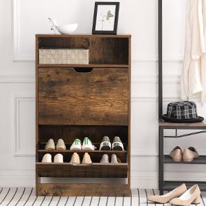 VASAGLE Schuhschrank mit 2 Klappen Schuh-Organizer vintagebraun LBC040X01 Pflegeleichte Melaminbeschichtung Schuhaufbewahrung 60 x 24 x 102 cm Schuhregal mit Zusatzfach