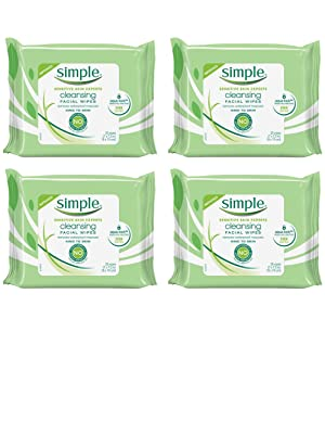 Simple Kind to Skin Cleansing Facial Wipes, Pack of 4