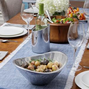 metal serveware, metal bowl, silver bowl, silver tray, metal tray