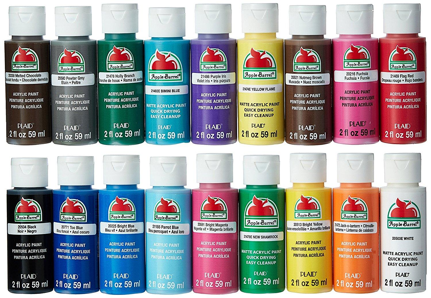 Apple barrel acrylic paint set 18 piece 2 for Artist canvas paint color