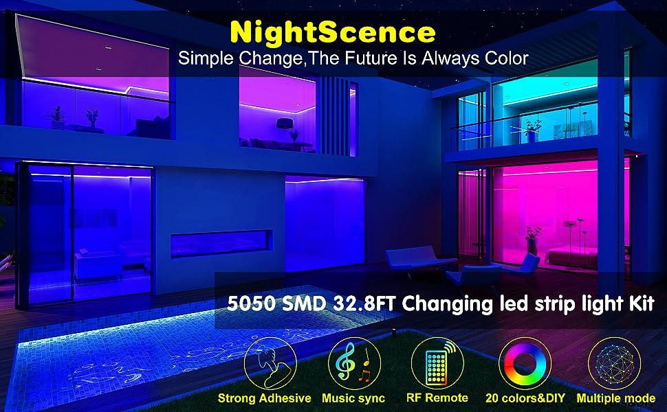 Led Strip Lights Nightscene 32 8ft Led Music Sync Color