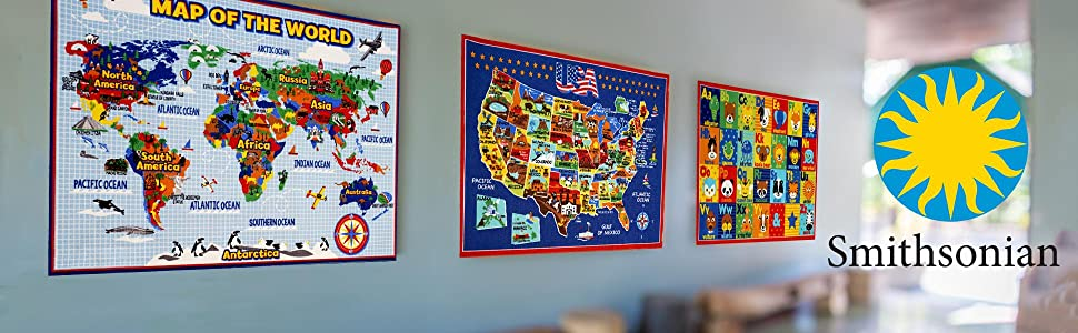 Amazon Com Smithsonian Rug Us Map Learning Carpets