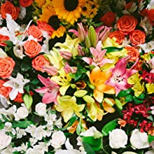 sunflowers, lilies, roses, alstroemeria, flowers, bouquets, arrangements, gift giving, home decor
