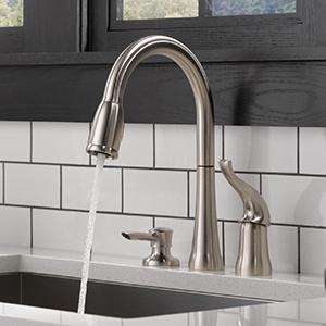 Beautiful Kate Single Handle Pull Down Kitchen Faucet With Soap Dispenser