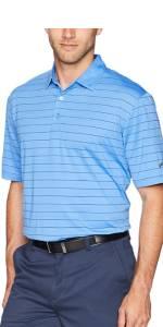 Ventilated Stripe Short Sleeve Golf Polo Shirt