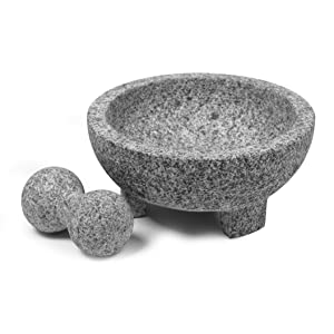 Amazon Com Imusa Usa Super Heavy Traditional Granite Molcajete Spice Grinder 8 Inch Gray 8 Mortar And Pestle Kitchen Dining