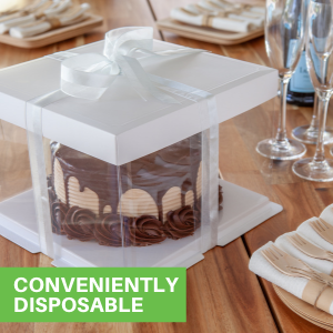 These cake box plastic are disposable, allowing you to gift pies and leave containers behind.