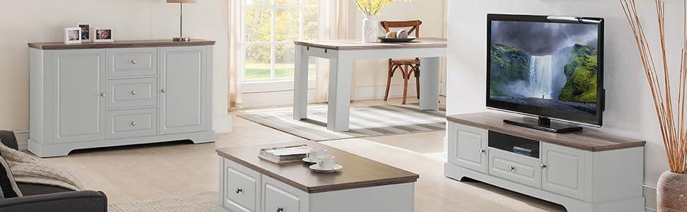 Dessy Meuble Tv Campagne Chic Blanc Chene 138 8 X 39 X 41 5 Cm Amazon Fr Cuisine Maison