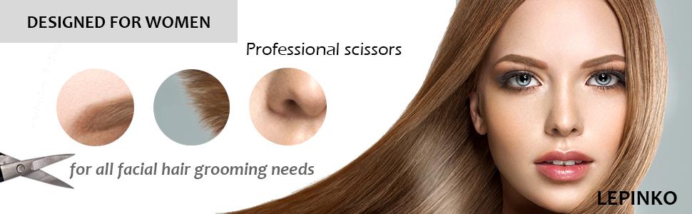 Small Scissors 2 Pack Black, Comfort-Grip Handles, Facial Hair Grooming For  Men Women - Eyebrow,