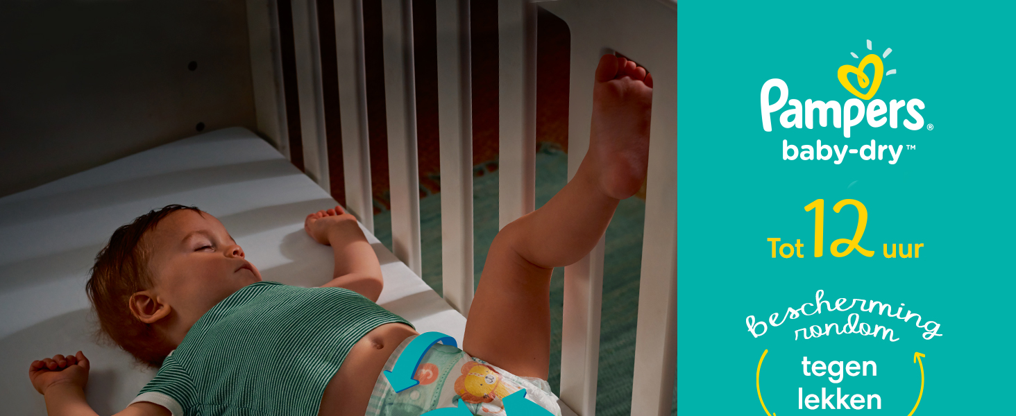 Pampers baby-dry tot 12 uur bescherming rondom tegen lekken