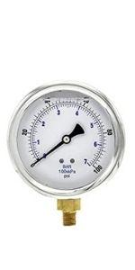 Glycerine Filled Pressure Gauge, Dual Scale