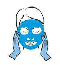 Zeichnung Frau legt Maske auf.